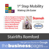 1st Step Mobility Tel: 01708 746 644 authorised dealers for Acorn Stairlifts, Stannah Stairlifts and Brooks Stairlifts in Romford, Hornchurch, Upminster, Dagenham, Cranham, Elm Park, Emerson Park, Gidea Park, Chadwell Heath, Grays, South Ockendon, Chafford Hundred, Rainham, Tilbury, West Thurrock, Collier Row, Harold Wood, Harold Hill, Stapleford Abbotts, Rush Green & Essex.
