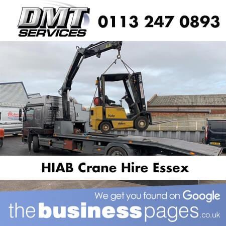DMT Transport Tel: 07507 456 974 Provide HIAB Crane Hire in Basildon, Wickford, Southend, Romford, Billericay, West Thurrock, Grays, Hainault, Dagenham, Barking, Rainham, Colchester, Chelmsford, Ilford & Essex.