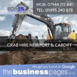 Bowen Groundworks & Utilities Ltd Tel: 01495 240 878 Grab Hire in Newport, Pontypool, Abergavenny, Monmouth, Chepstow, Abertillery, Usk, Tredegar, New Tredegar, Ebbw Vale, Crickhowell, Blackwood, Caldico, Cwmbran & Wales.