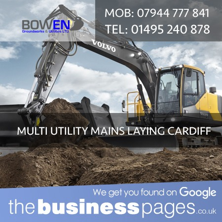 Bowen Groundworks & Utilities Ltd Tel: 01495 240 878 Multi Utility Mains Laying in Cardiff, Bridgend, Merthyr Tydfil, Caerphilly, Aberdare, Bargoed, Barry, Cowbridge, Dinas Powys, Ferndale, Hengoed, Llantwit Major, Maesteg, Mountain Ash, Penarth, Pentre, Pontyclun, Pontypridd, Porth, Porthcawl, Rhoose, Sully, Treharris & Wales.